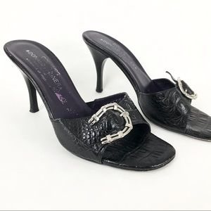 Donald Pliner Couture 8.5 Heels Black Croc Leather Silver Buckle